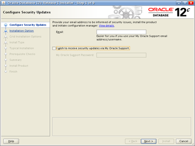 Oracle Database 12c Release 1 Installer - Step 1