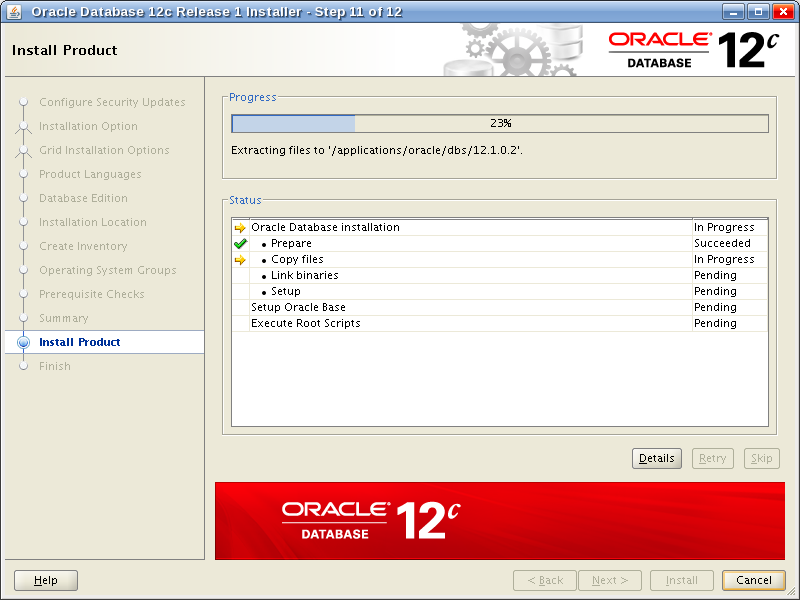Oracle Database 12c Release 1 Installer - Step 11