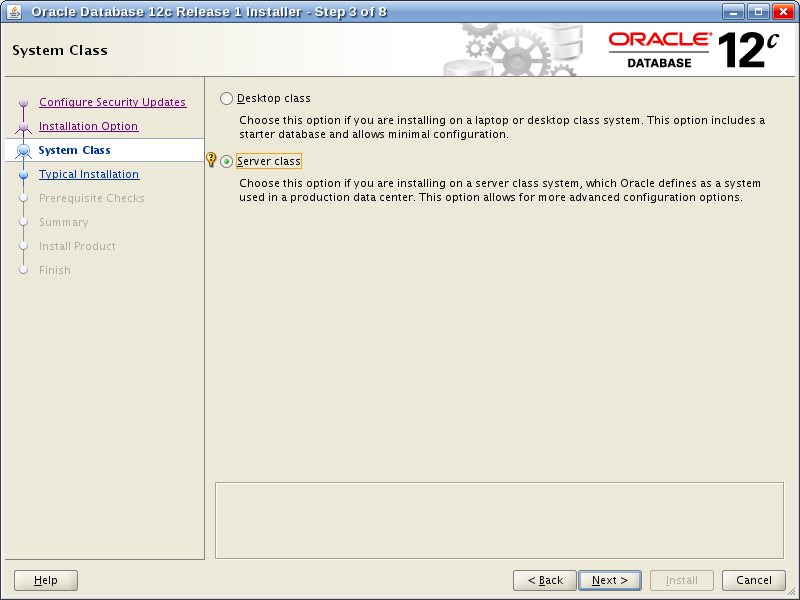 Oracle Database 12c Release 1 Installer - Step 3