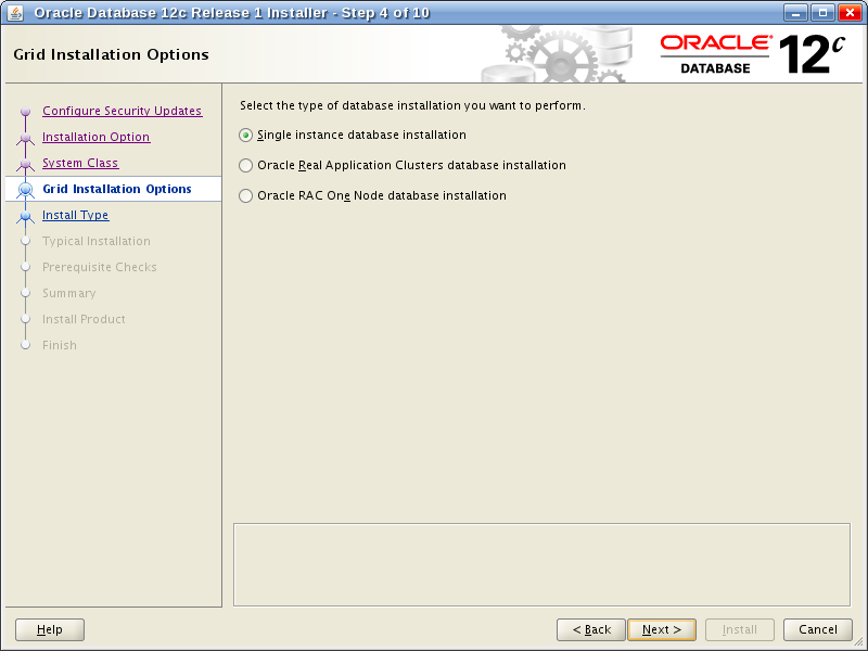 Oracle Database 12c Release 1 Installer - Step 4