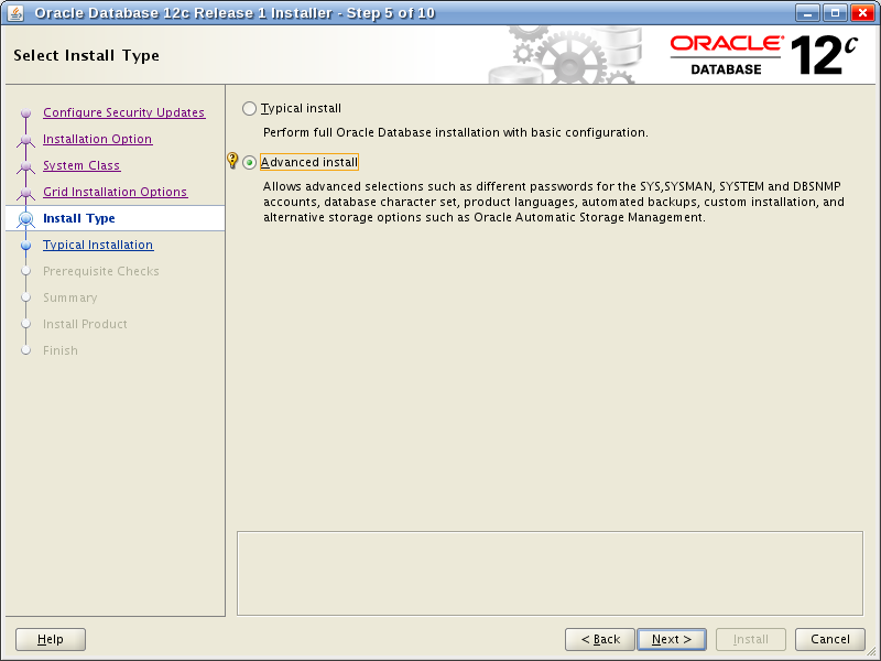 Oracle Database 12c Release 1 Installer - Step 5