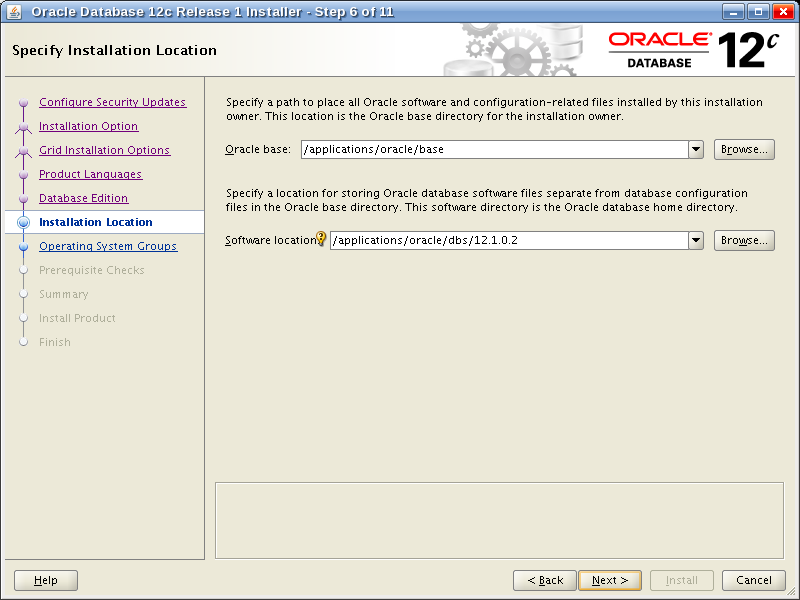 Oracle Database 12c Release 1 Installer - Step 6