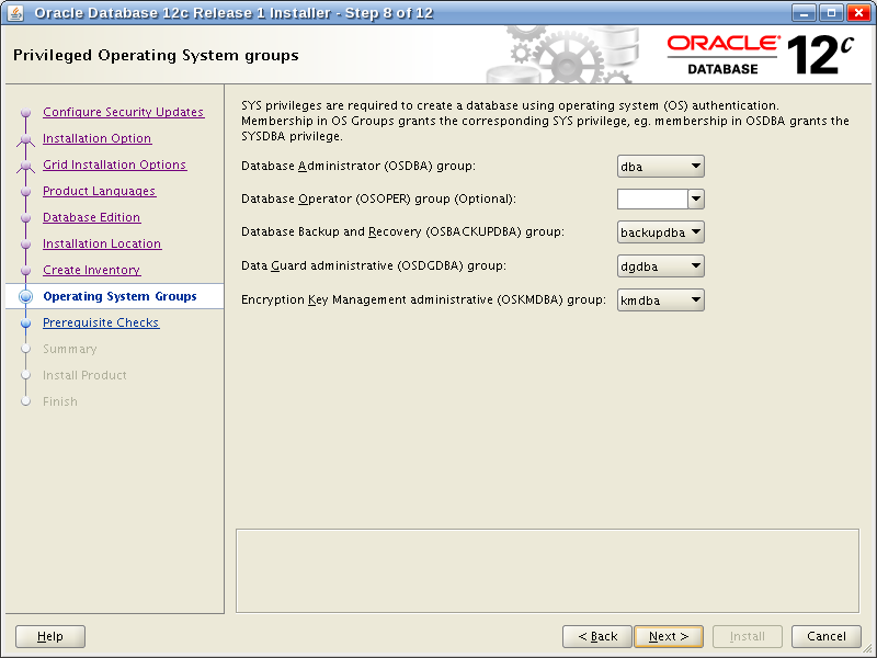 Oracle Database 12c Release 1 Installer - Step 8