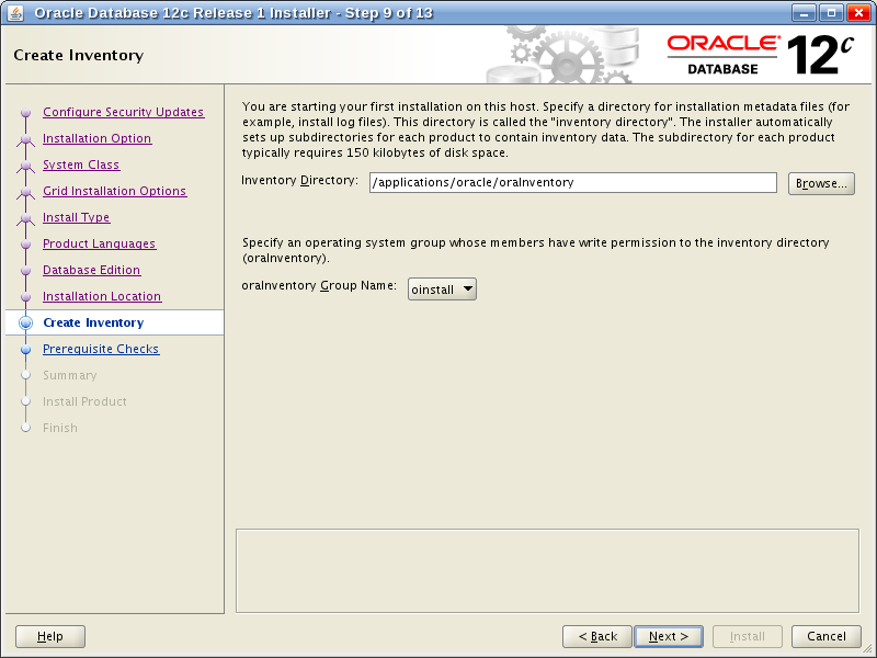 Oracle Database 12c Release 1 Installer - Step 9